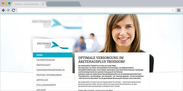 Ärztehaus Plus - Screenshot Webseite
