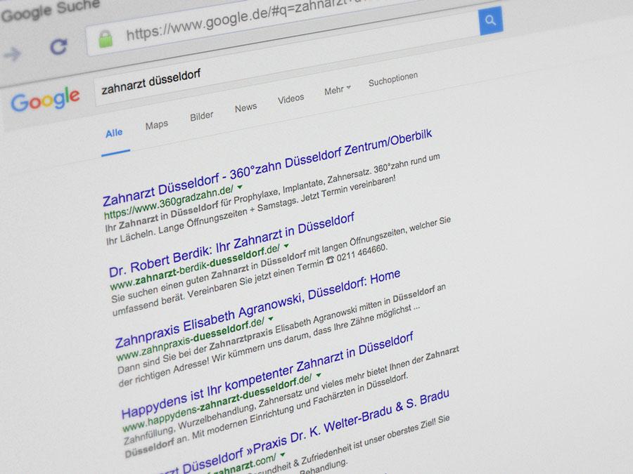 Arztsuche über Google Suchmaschine