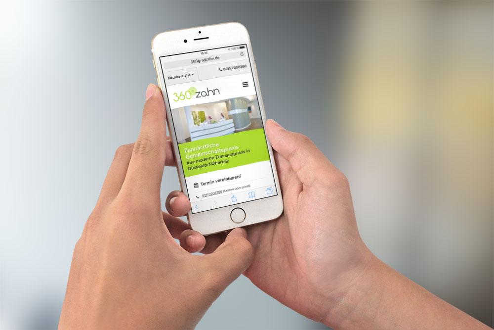 Mobile Webseite Zahnarztwebseite