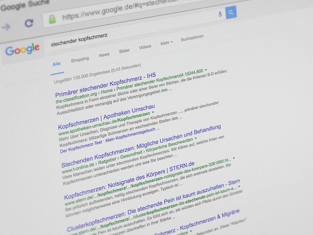 Google Suchergebnis stechender Kopfschmerz