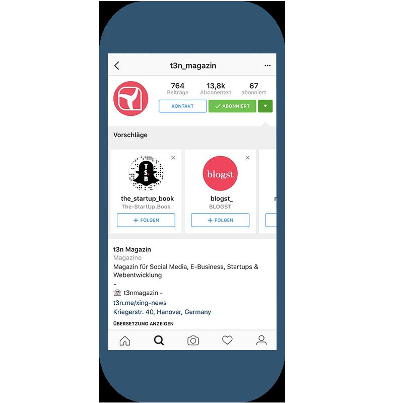 Instagram Business Profil Zusatzoptionen