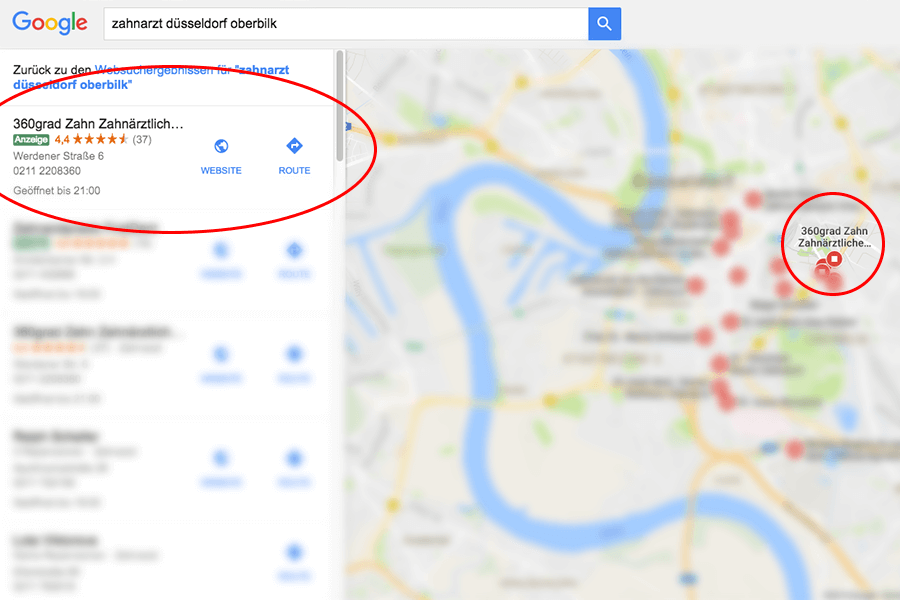 Googla AdWords Anzeige in Maps