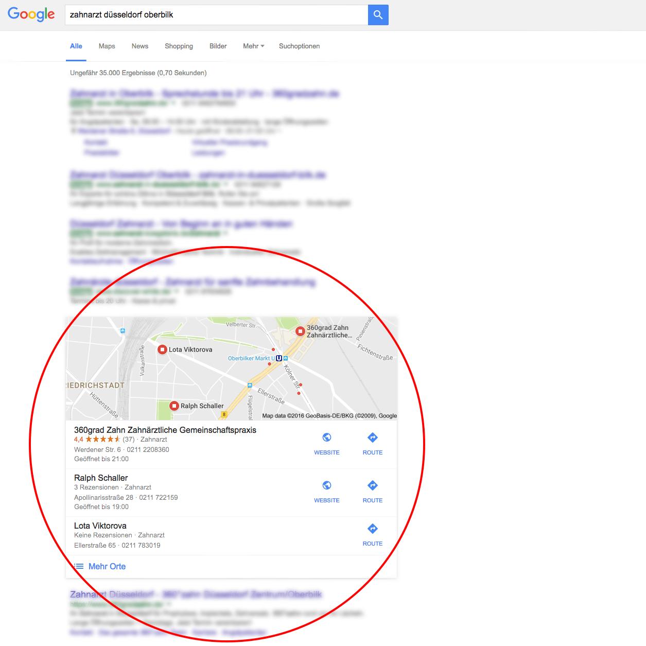 Lokale Suchanfrage Google Zahnarzt Düsseldorf
